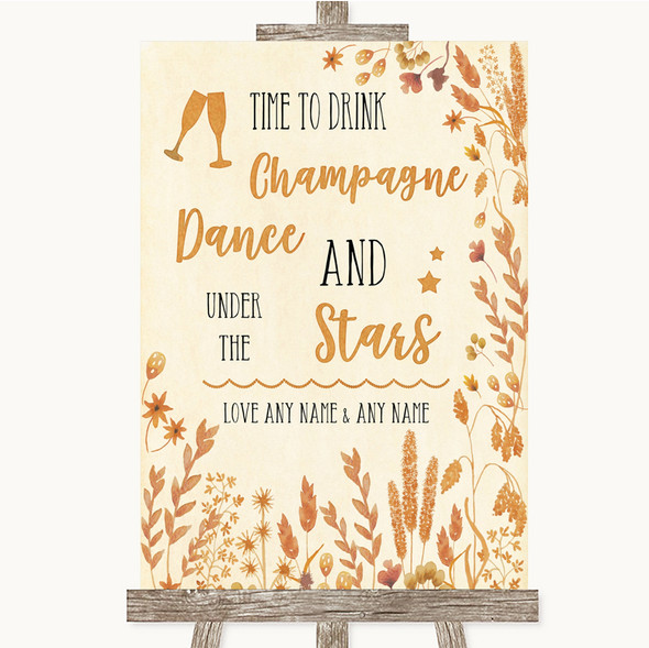 Autumn Leaves Drink Champagne Dance Stars Personalised Wedding Sign