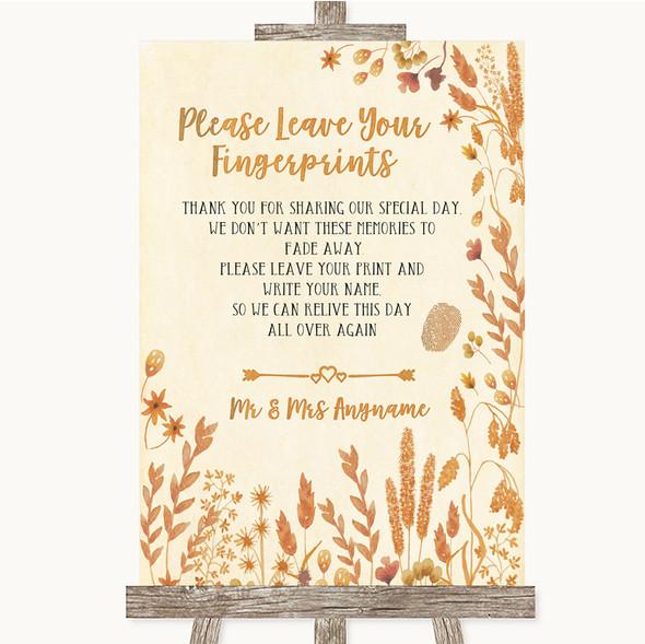 Autumn Leaves Fingerprint Guestbook Personalised Wedding Sign