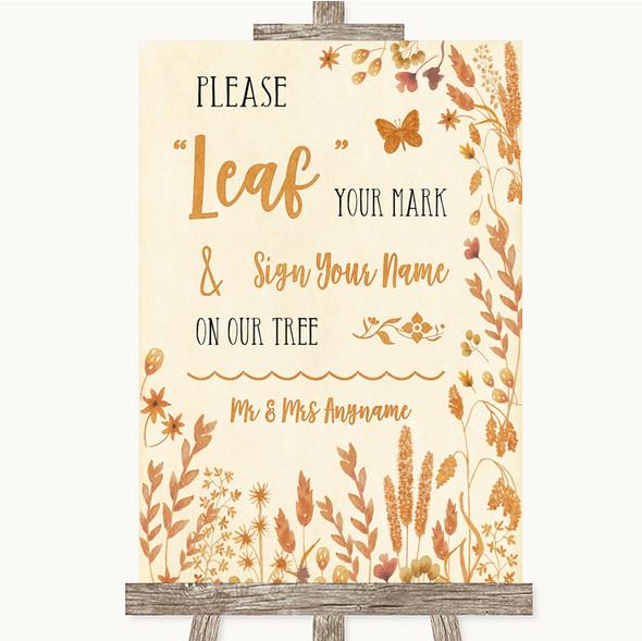 Autumn Leaves Fingerprint Tree Instructions Personalised Wedding Sign