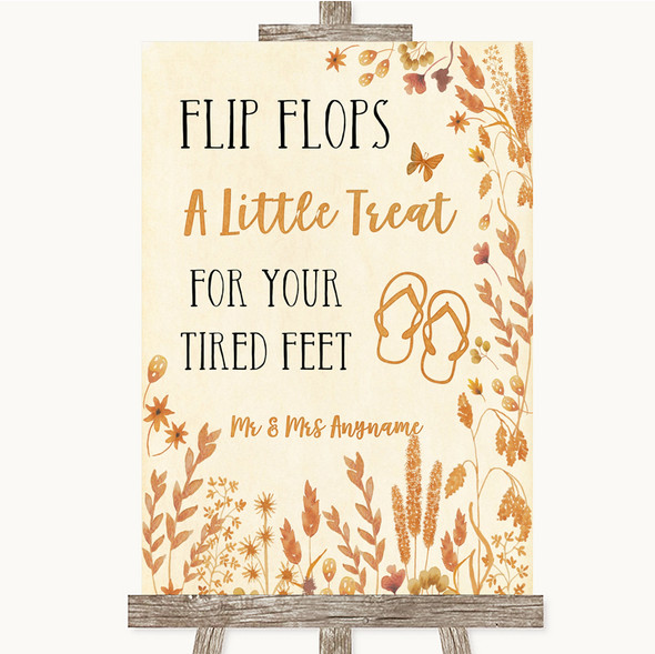 Autumn Leaves Flip Flops Dancing Shoes Personalised Wedding Sign