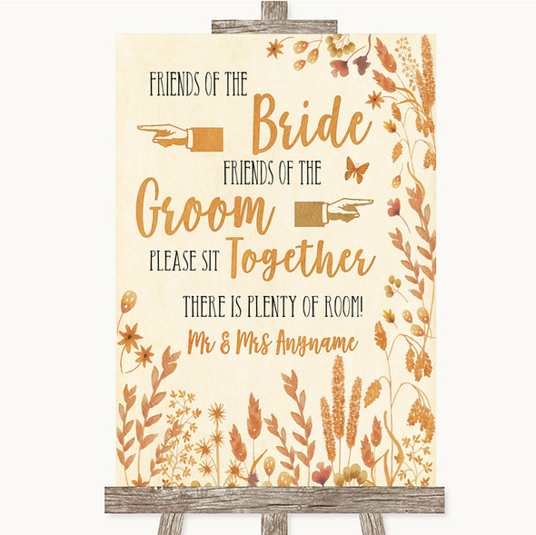 Autumn Leaves Friends Of The Bride Groom Seating Personalised Wedding Sign
