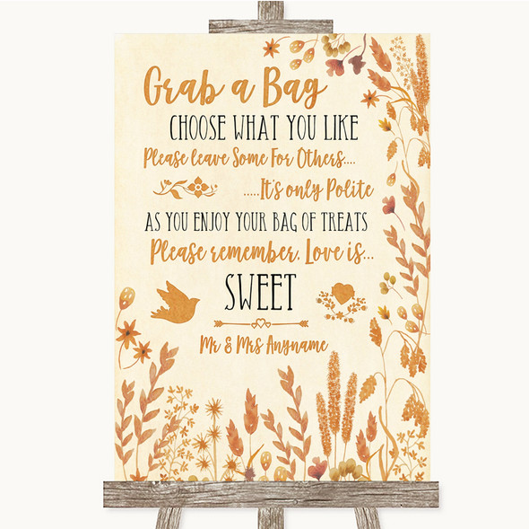 Autumn Leaves Grab A Bag Candy Buffet Cart Sweets Personalised Wedding Sign