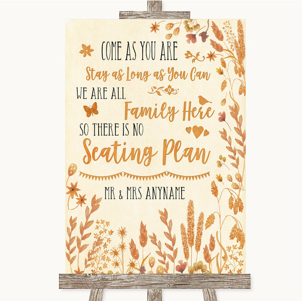 Autumn Leaves All Family No Seating Plan Personalised Wedding Sign