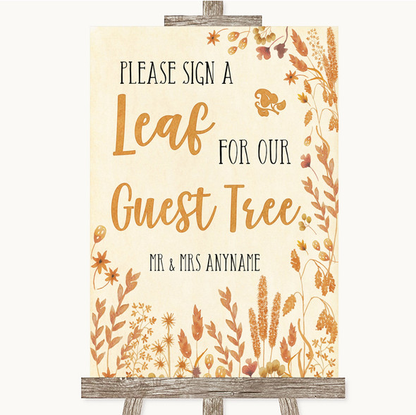 Autumn Leaves Guest Tree Leaf Personalised Wedding Sign