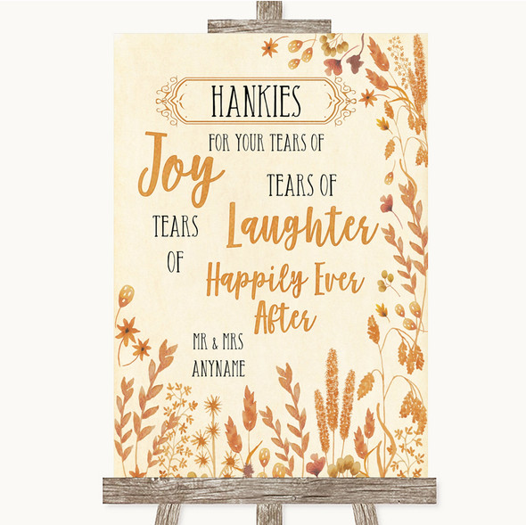 Autumn Leaves Hankies And Tissues Personalised Wedding Sign