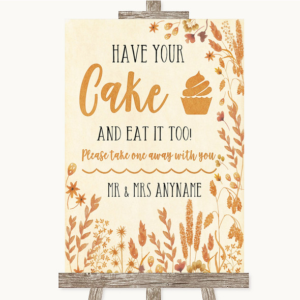 Autumn Leaves Have Your Cake & Eat It Too Personalised Wedding Sign
