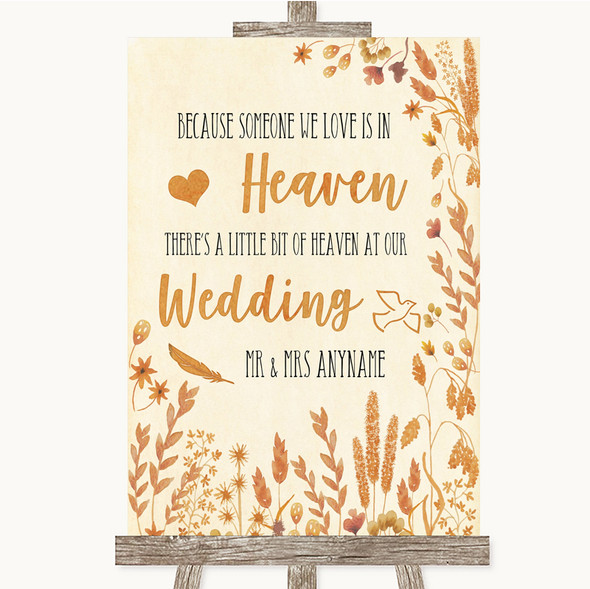 Autumn Leaves Heaven Loved Ones Personalised Wedding Sign