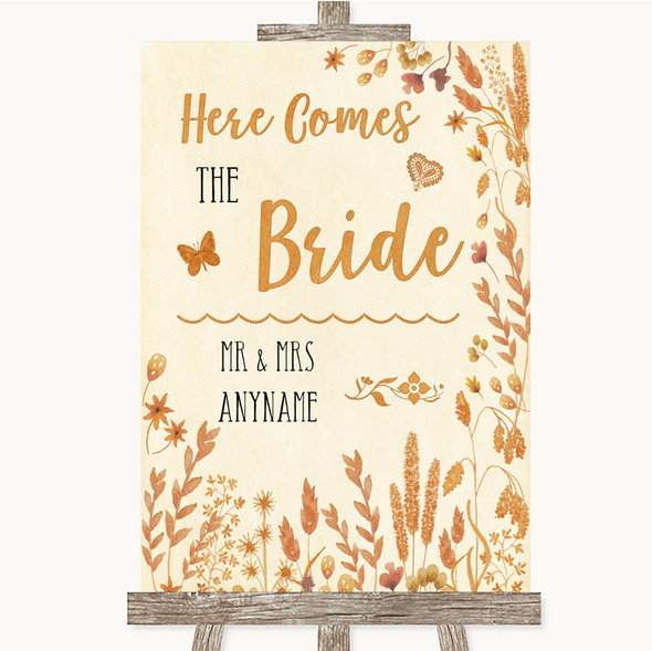 Autumn Leaves Here Comes Bride Aisle Personalised Wedding Sign