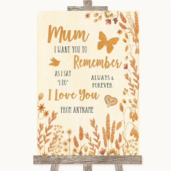 Autumn Leaves I Love You Message For Mum Personalised Wedding Sign
