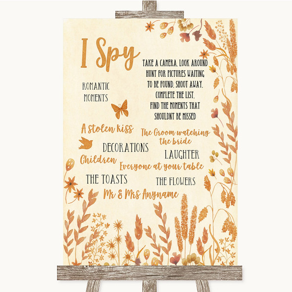 Autumn Leaves I Spy Disposable Camera Personalised Wedding Sign