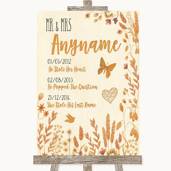 Autumn Leaves Important Special Dates Personalised Wedding Sign