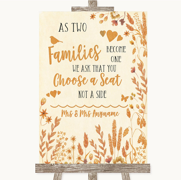 Autumn Leaves As Families Become One Seating Plan Personalised Wedding Sign