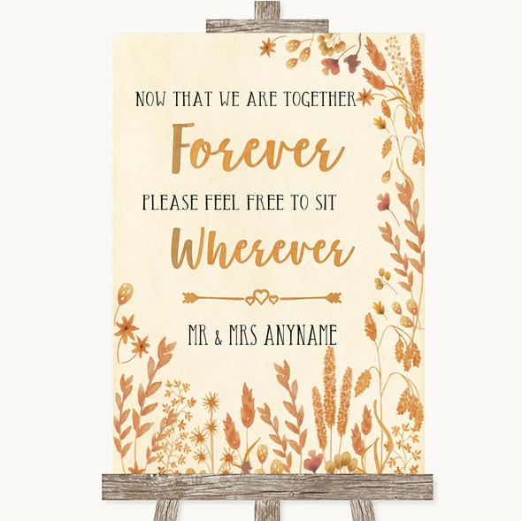 Autumn Leaves Informal No Seating Plan Personalised Wedding Sign