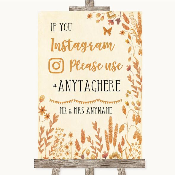 Autumn Leaves Instagram Hashtag Personalised Wedding Sign