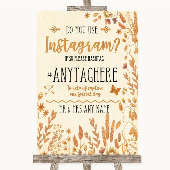 Autumn Leaves Instagram Photo Sharing Personalised Wedding Sign