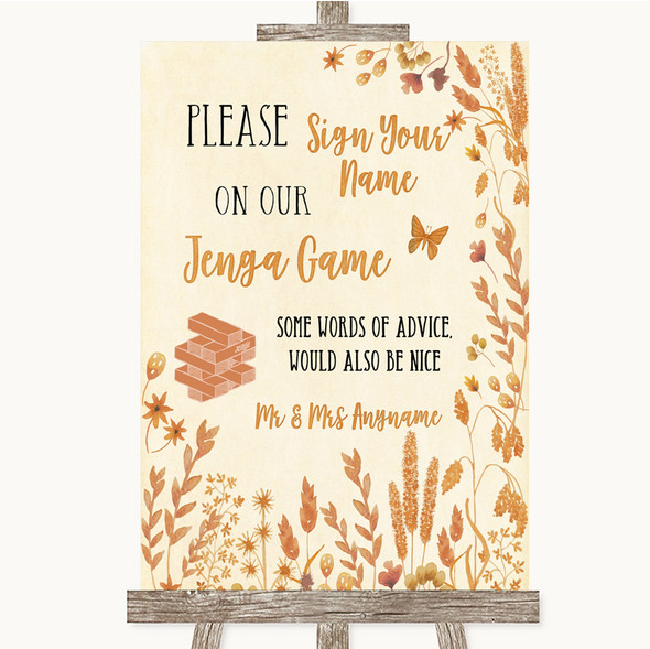 Autumn Leaves Jenga Guest Book Personalised Wedding Sign