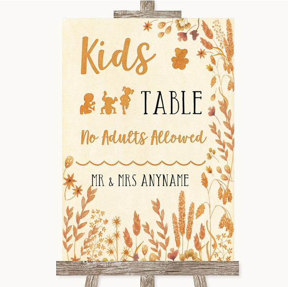 Autumn Leaves Kids Table Personalised Wedding Sign