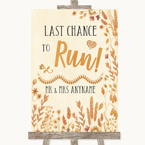 Autumn Leaves Last Chance To Run Personalised Wedding Sign