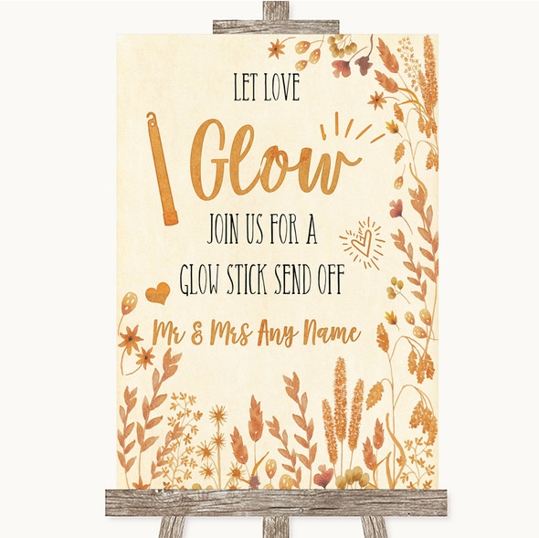 Autumn Leaves Let Love Glow Glowstick Personalised Wedding Sign