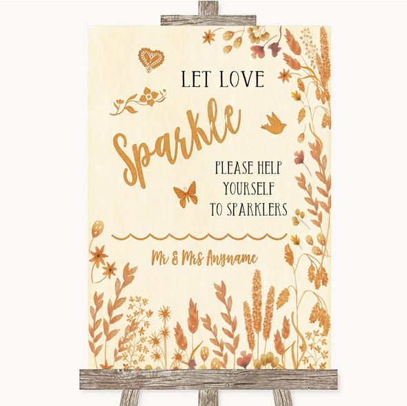 Autumn Leaves Let Love Sparkle Sparkler Send Off Personalised Wedding Sign