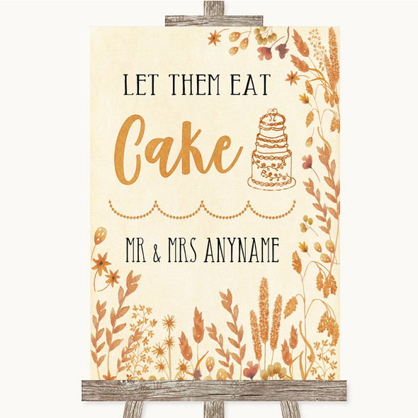 Autumn Leaves Let Them Eat Cake Personalised Wedding Sign