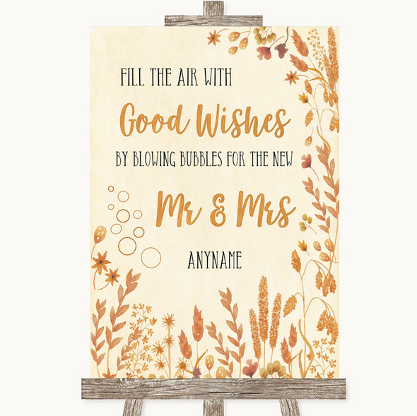 Autumn Leaves Blow Bubbles Personalised Wedding Sign