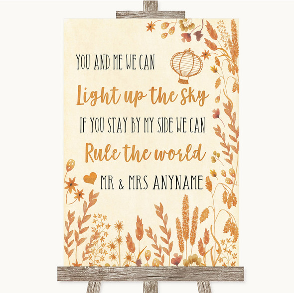 Autumn Leaves Light Up The Sky Rule The World Personalised Wedding Sign