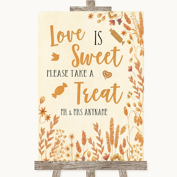 Autumn Leaves Love Is Sweet Take A Treat Candy Buffet Personalised Wedding Sign
