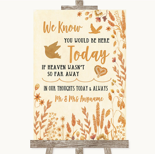 Autumn Leaves Loved Ones In Heaven Personalised Wedding Sign