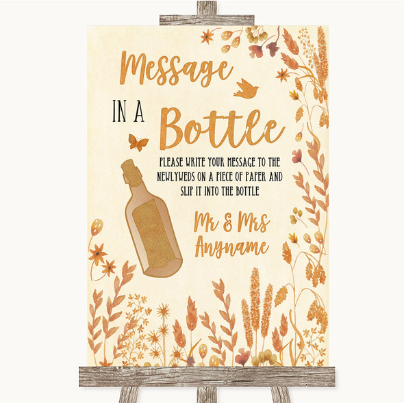 Autumn Leaves Message In A Bottle Personalised Wedding Sign