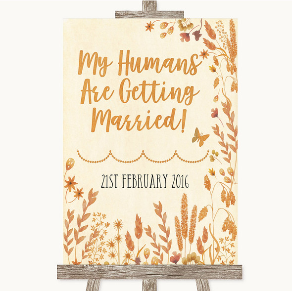Autumn Leaves My Humans Are Getting Married Personalised Wedding Sign