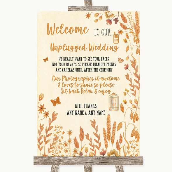 Autumn Leaves No Phone Camera Unplugged Personalised Wedding Sign