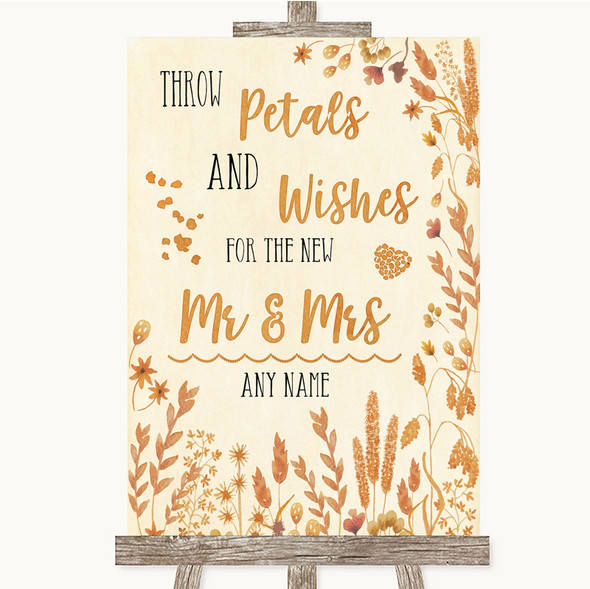 Autumn Leaves Petals Wishes Confetti Personalised Wedding Sign