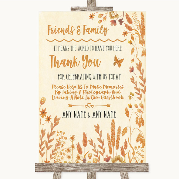 Autumn Leaves Photo Guestbook Friends & Family Personalised Wedding Sign
