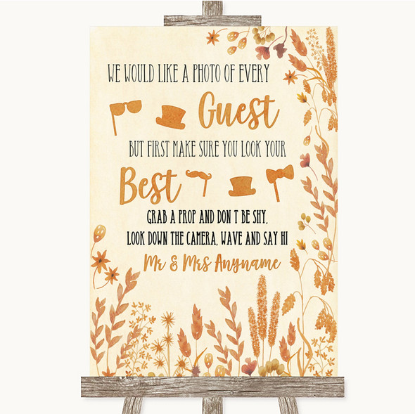 Autumn Leaves Photo Prop Guestbook Personalised Wedding Sign