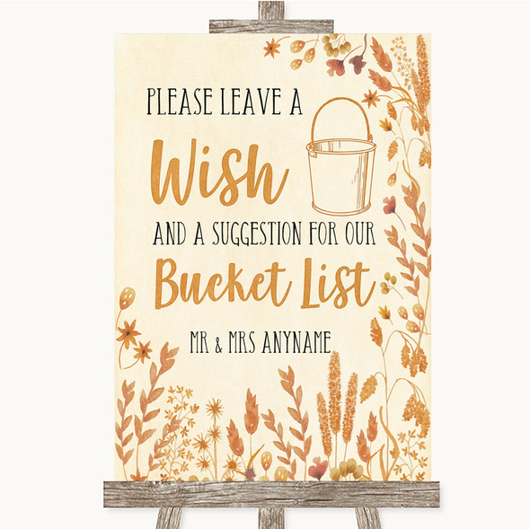 Autumn Leaves Bucket List Personalised Wedding Sign
