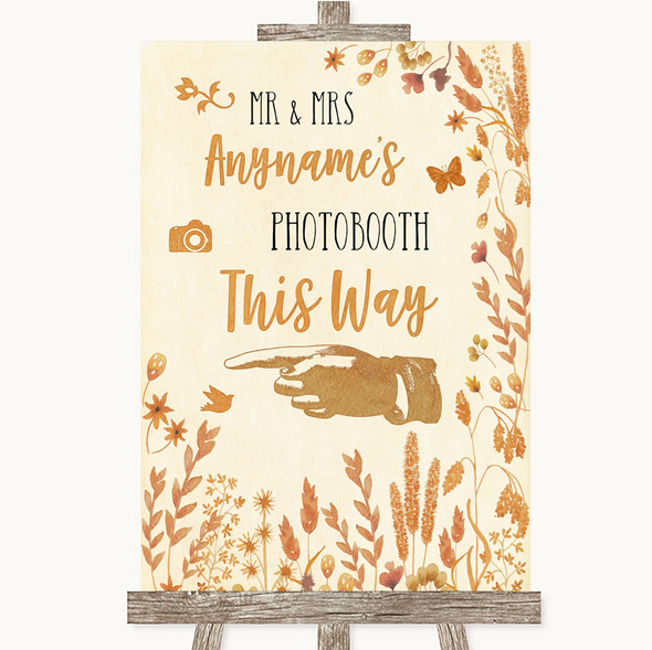 Autumn Leaves Photobooth This Way Left Personalised Wedding Sign