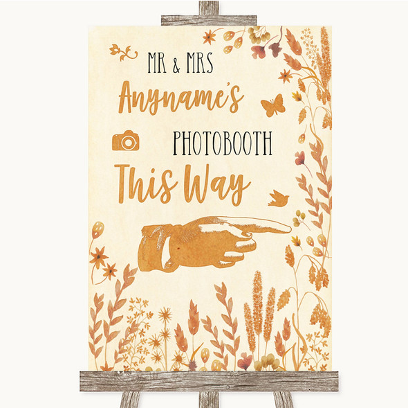Autumn Leaves Photobooth This Way Right Personalised Wedding Sign