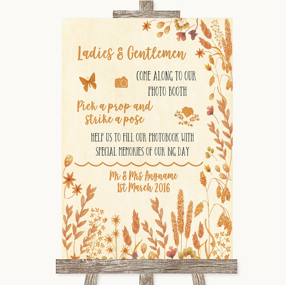 Autumn Leaves Pick A Prop Photobooth Personalised Wedding Sign