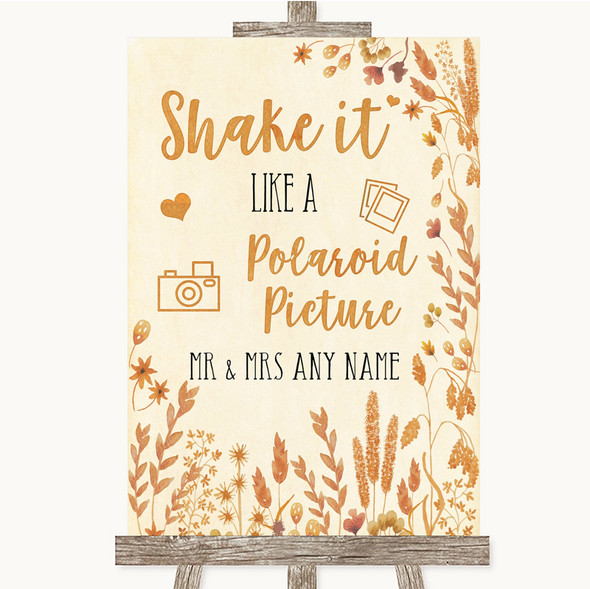 Autumn Leaves Polaroid Picture Personalised Wedding Sign