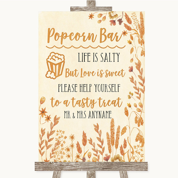 Autumn Leaves Popcorn Bar Personalised Wedding Sign