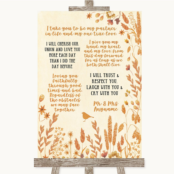 Autumn Leaves Romantic Vows Personalised Wedding Sign