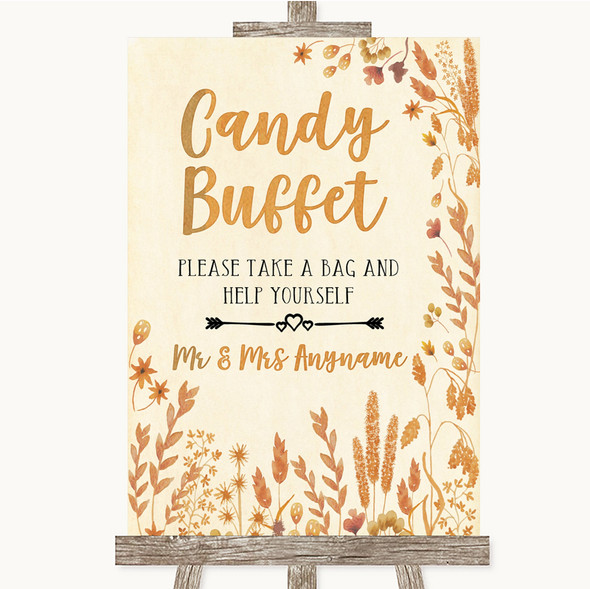 Autumn Leaves Candy Buffet Personalised Wedding Sign
