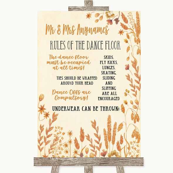 Autumn Leaves Rules Of The Dance Floor Personalised Wedding Sign