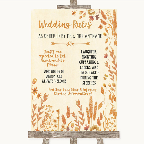 Autumn Leaves Rules Of The Wedding Personalised Wedding Sign