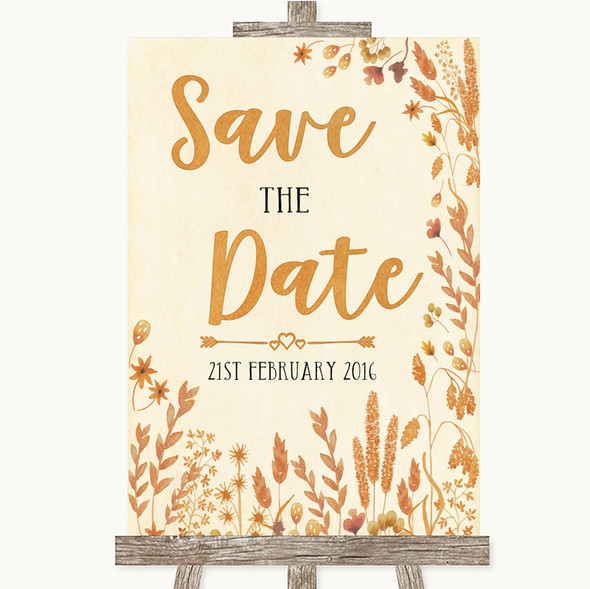 Autumn Leaves Save The Date Personalised Wedding Sign