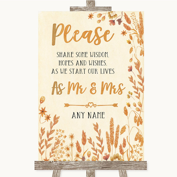 Autumn Leaves Share Your Wishes Personalised Wedding Sign