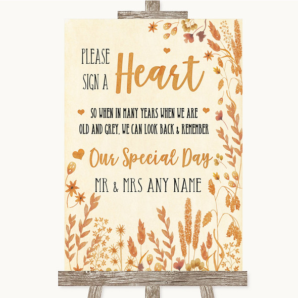 Autumn Leaves Sign a Heart Personalised Wedding Sign