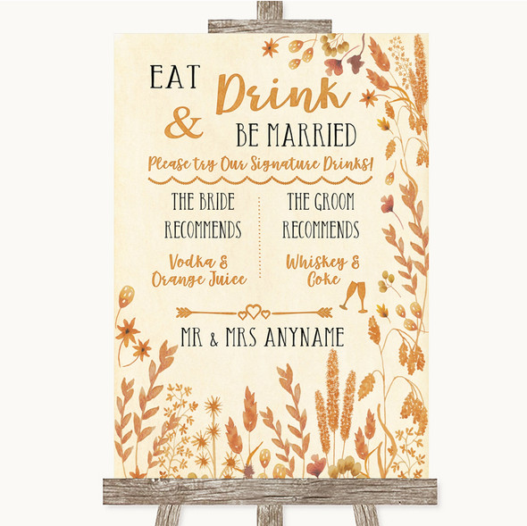 Autumn Leaves Signature Favourite Drinks Personalised Wedding Sign
