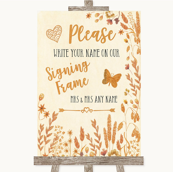 Autumn Leaves Signing Frame Guestbook Personalised Wedding Sign